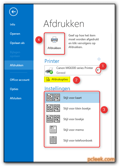 Afdrukken Contactpersonen Ms Outlook