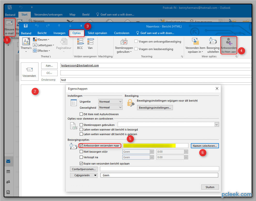 Antwoordadres Ms Outlook