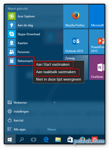 Rekenmachine Taakbalk Win10