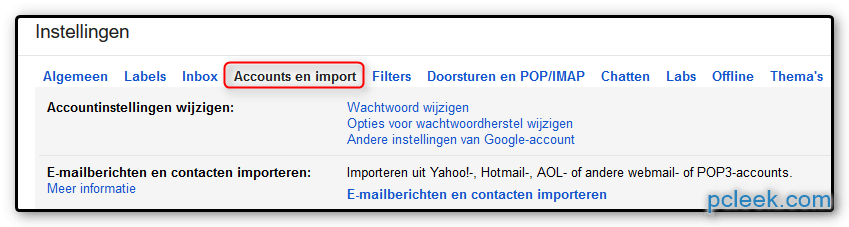 Accounts Importeren Gmail