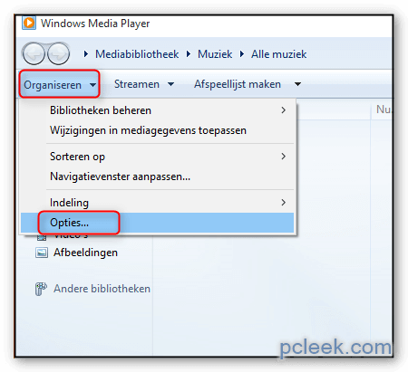 Opties Windows Media Player Openen