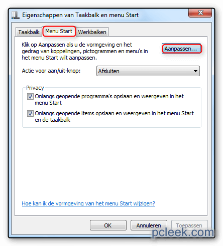 Menu Start Aanpassen Win7